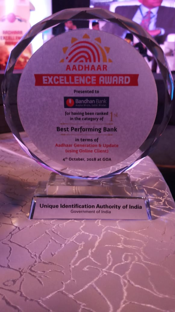 Best Performing Bank -Aadhar Excellence Award